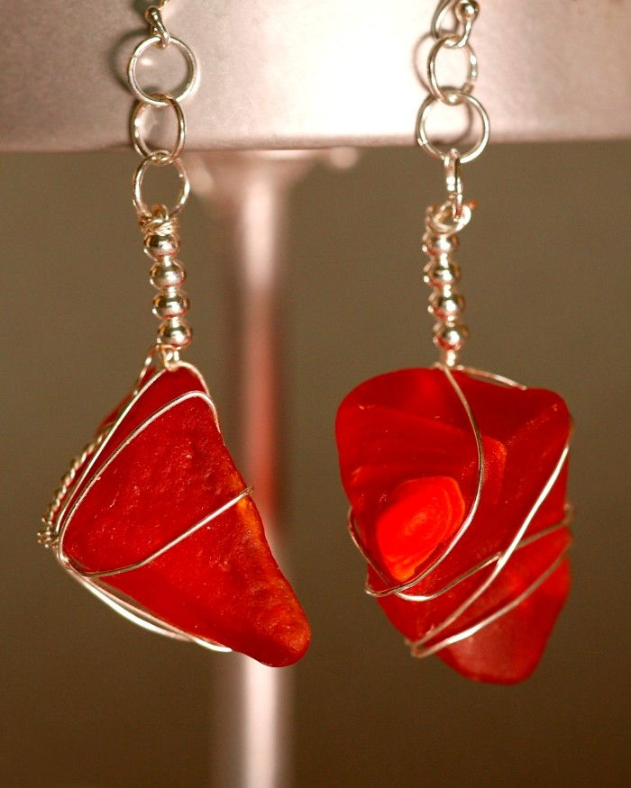 Red Sea Glass Earrings 1122