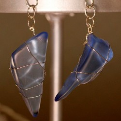 Light Blue Sea Glass Earrings 1123