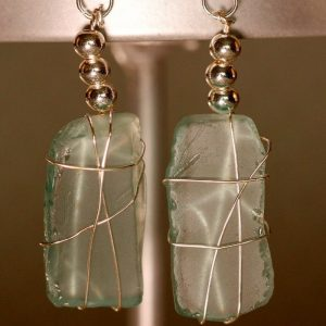 Aqua Sea Glass Earrings 1124