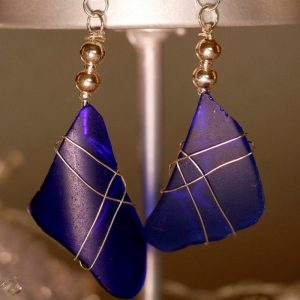 Blue Sea Glass Earrings 1126