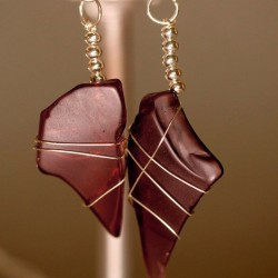 Rare Purple Sea Glass Earrings 1127