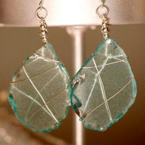Aqua Sea Glass Earrings 1129