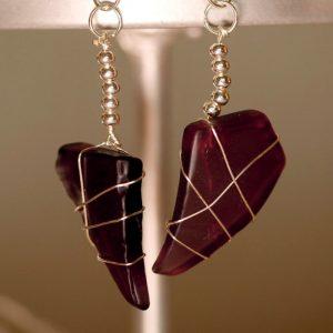 Purple Sea Glass Earrings 1130