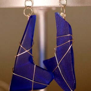 Blue Sea Glass Earrings 1131