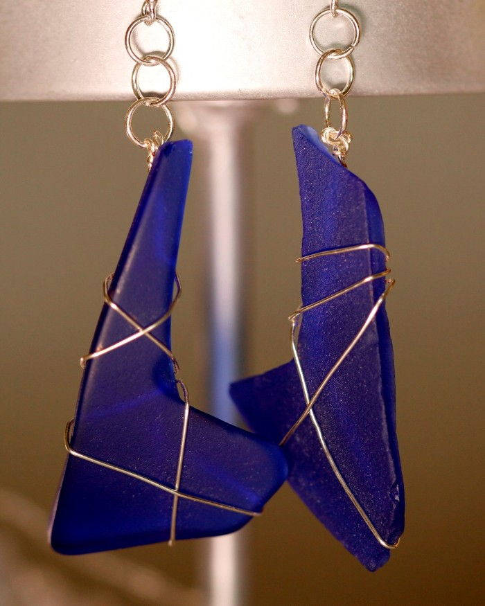 glass moderntone blue angel silver cobalt wire earrings and depression sterling wrapped product