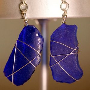 Blue Sea Glass Earrings 1134