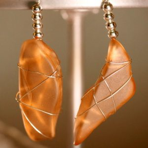 Orange Peach Sea Glass Earrings 1135