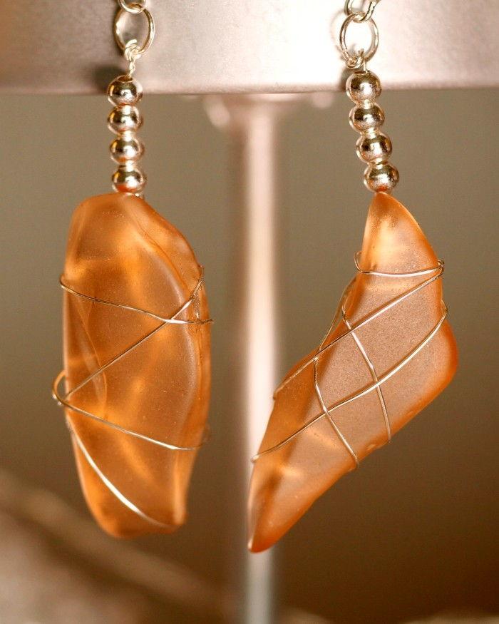 Orange Peach Sea Glass Earrings 1135