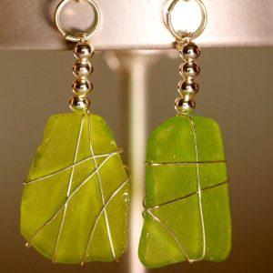 Green Sea Glass Earrings 1136