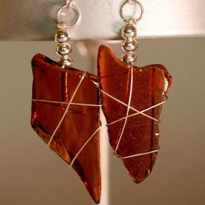 Amber Sea Glass Earrings 1137