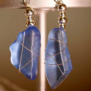 Light Blue Sea Glass Earrings 1140