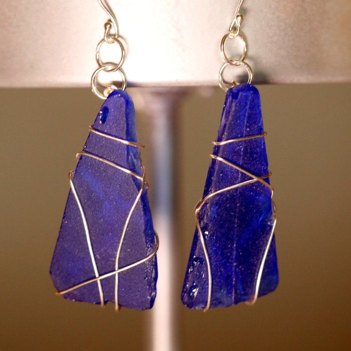 Blue Sea Glass Earrings 1142