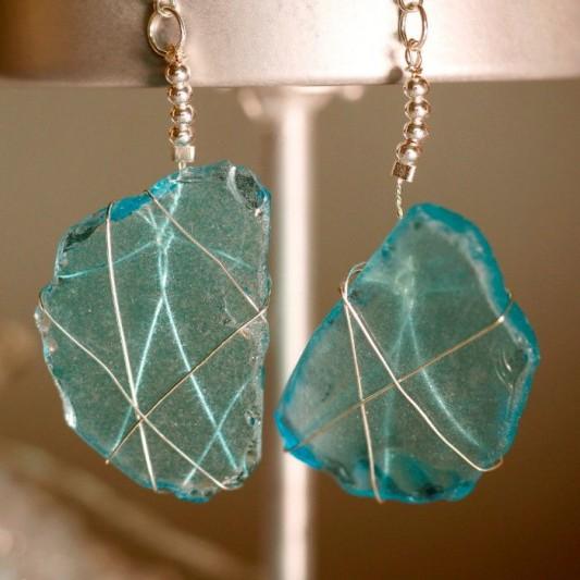 Aqua Sea Glass Earrings 1143