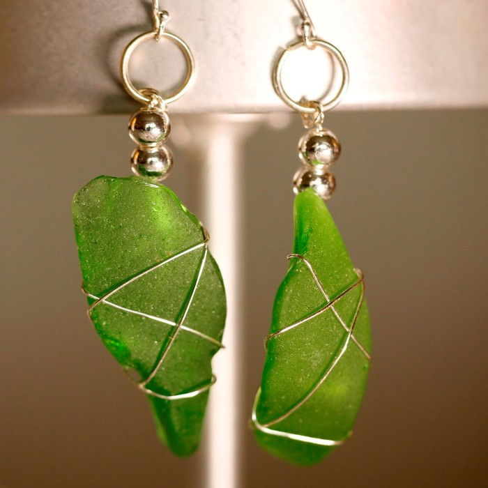 Green Sea Glass Earrings 1144