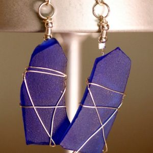 Blue Sea Glass Earrings 1146