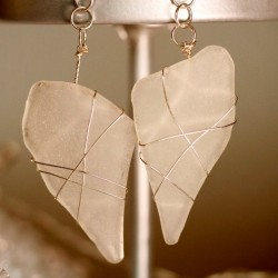 White Sea Glass Earrings 1149