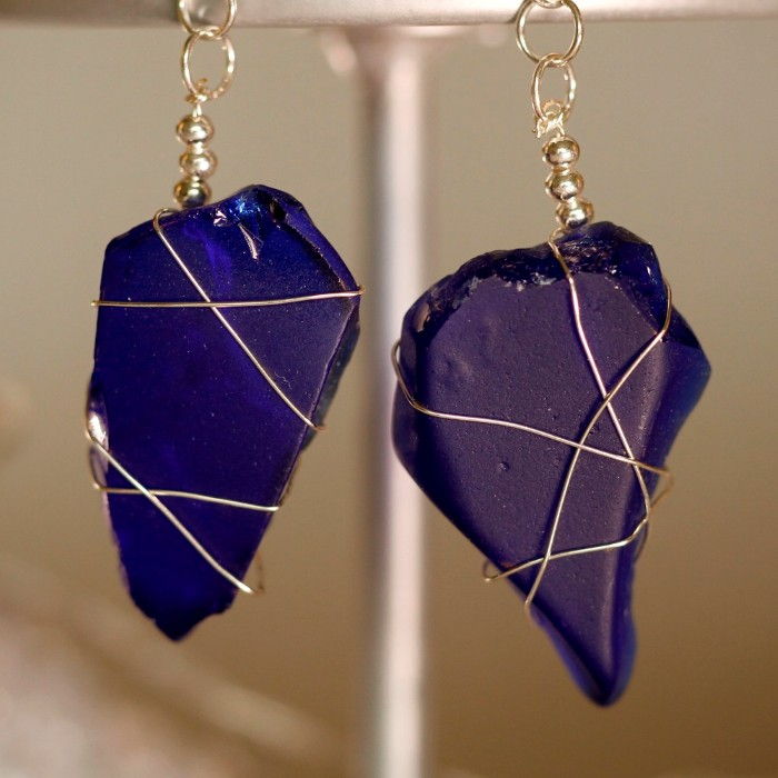 Blue Sea Glass Earrings 1151