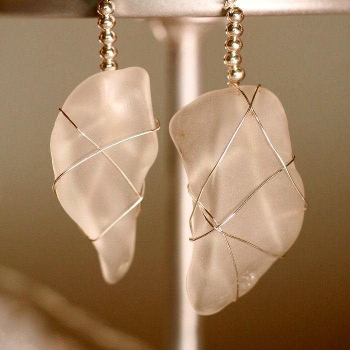 White Sea Glass Earrings 1150