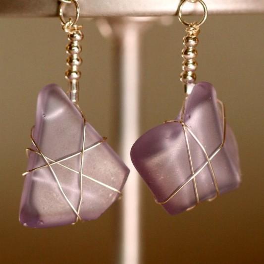 Purple Sea Glass Earrings 1154