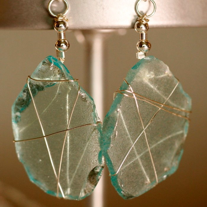 Aqua Sea Glass Earrings 1156