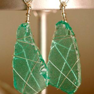 Aqua Sea Glass Earrings 11