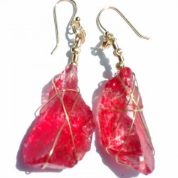 Red Frosted Glass Earrings 2184