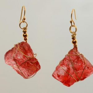 Red Sea Glass Earrings 0415
