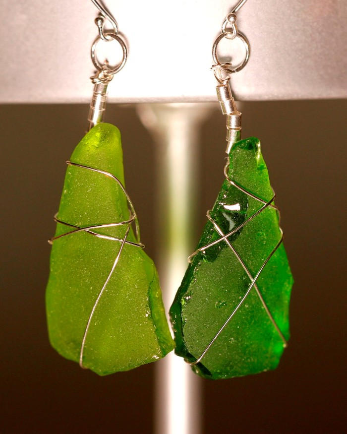 Green Sea Glass Earrings 1089