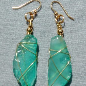 Turquoise Aqua Sea Glass Earrings