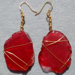 Rare Red Sea Glass Earrings 2101
