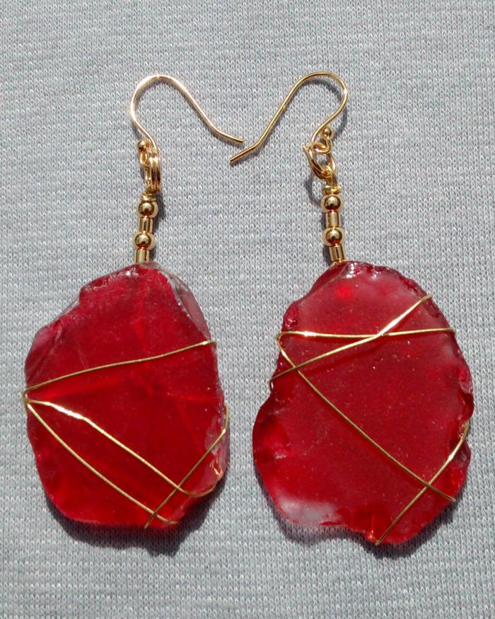 Rare Red Sea Glass Earrings 2101