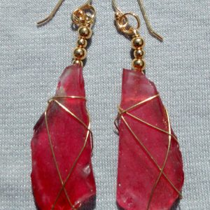 Rare Red Sea Glass Earrings 2102