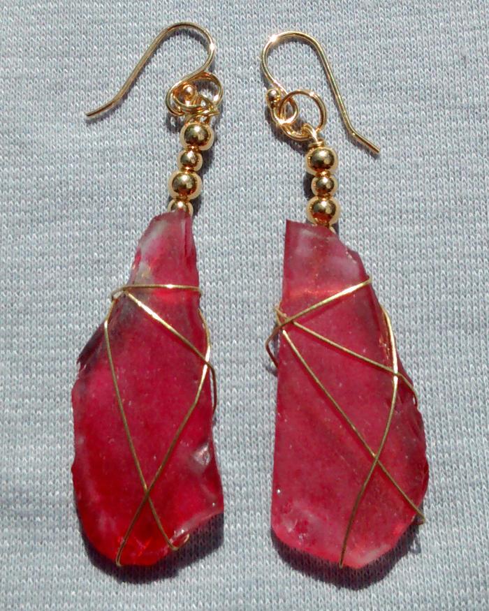 Rare Red Sea Glass Earrings 2102